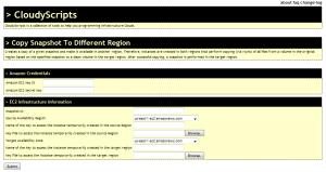 CloudyScripts GUI for Amazon EC2 Copy Snapshot