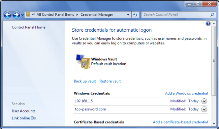 Windows Vault